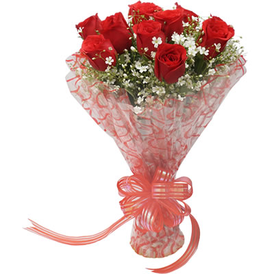 10 Red Roses hand tied i...