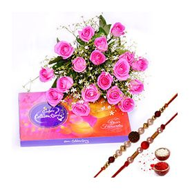 Bunch of 15 Pink Roses,C...