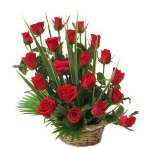 20 Red Roses with Basket