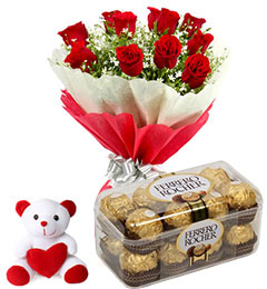 10 Red Roses,16 pcs Ferr...