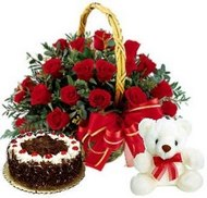 20 Red Rose with Basket ...