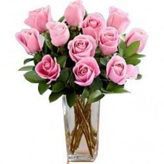 Bunch of 12 Pink Roses i...