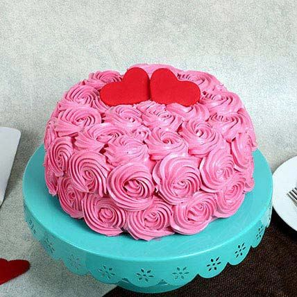 Pinky Roses Cake Upon He...