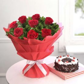 10 Red roses , 1 kg blac...