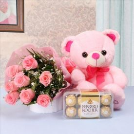 Pink rose , Pink Teddy b...