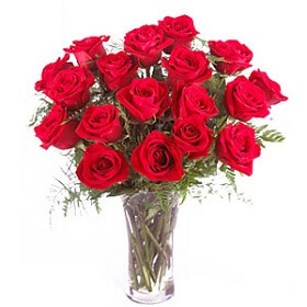 16 red Rose in vase