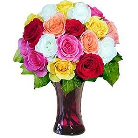 16 Mixed roses in vase
