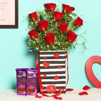 Red roses, Dairy milk.