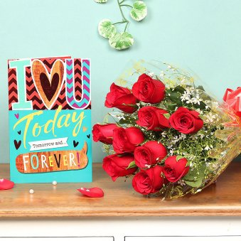 Red roses, Greeting card