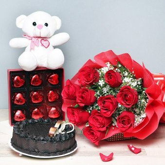 White teddy, Red roses, ...